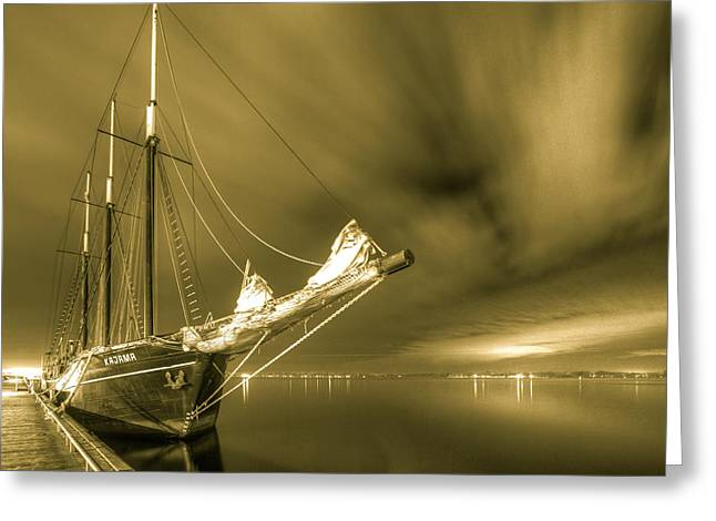 Sailing At Night Greeting Cards - Tall ship in the lights of Toronto Greeting Card by Nick Mares