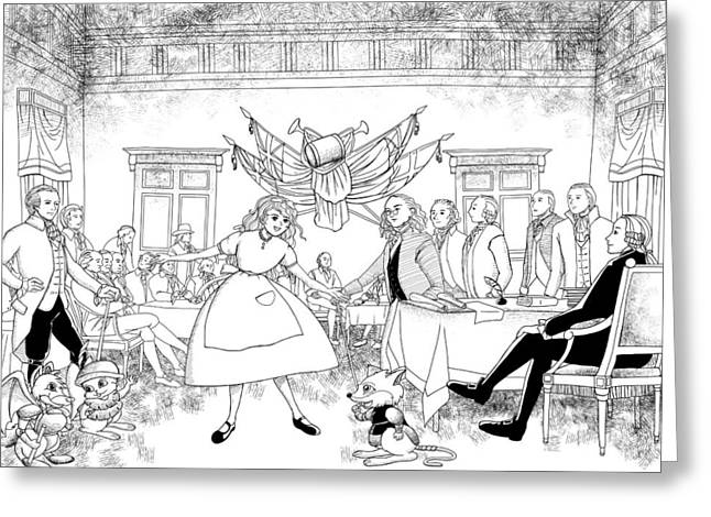 Thomas Jefferson Drawings Greeting Cards - Tammy in Independence Hall Greeting Card by Reynold Jay