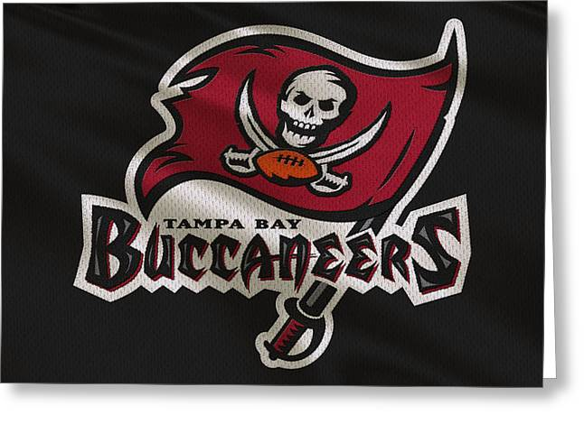 Team Greeting Cards - Tampa Bay Buccaneers Uniform Greeting Card by Joe Hamilton