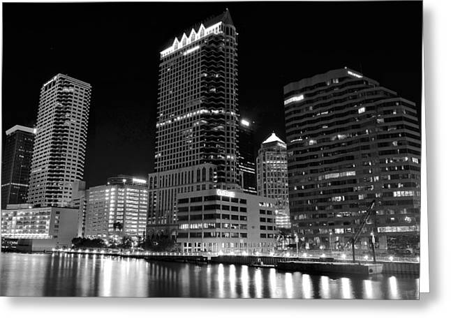 Baseball Game Greeting Cards - Tampa Black and White  Greeting Card by Frozen in Time Fine Art Photography