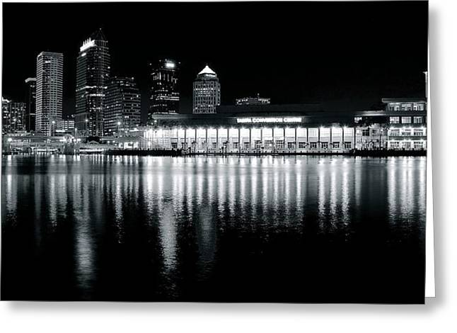 Baseball Game Greeting Cards - Tampa Black and White Panorama Greeting Card by Frozen in Time Fine Art Photography