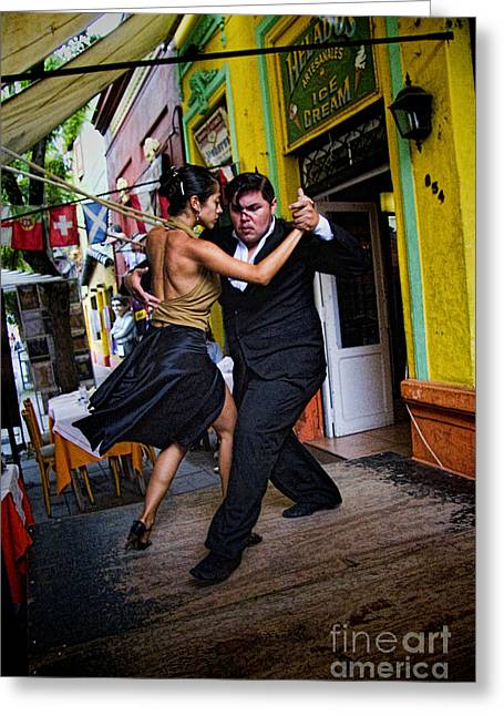 Tango Dancing In Buenos Aires Argentina Greeting Card by David Smith