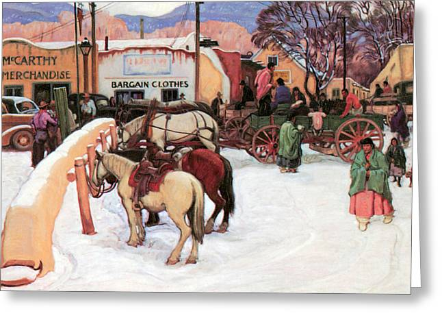 Snow Scene Landscape Greeting Cards - Taos Plaza Winter Greeting Card by E Martin Hennings