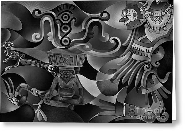 Husks Greeting Cards - Tapestry of Gods - Huehueteotl Greeting Card by Ricardo Chavez-Mendez