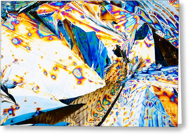 Patterned Greeting Cards - Tartaric acid crystals in polarized light Greeting Card by Stephan Pietzko