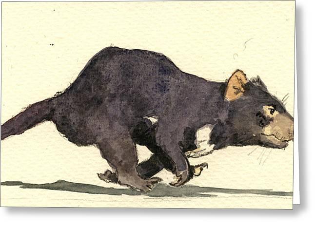 Tasmanian Greeting Cards - Tasmanian devil Greeting Card by Juan  Bosco