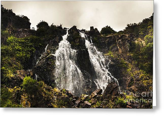 Tasmanian Greeting Cards - Tasmanian waterfalls in Waratah Australia Greeting Card by Ryan Jorgensen