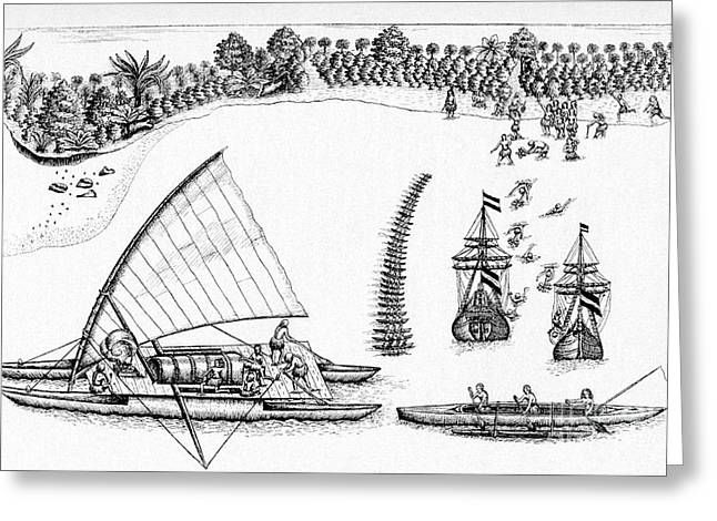 Indigenous Meeting Greeting Cards - Tasmans Visit To Fiji, 1643 Greeting Card by CCI Archives
