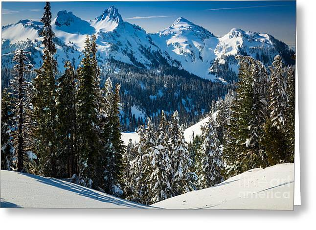 Cascade Mountains Greeting Cards - Tatoosh Winter Wonderland Greeting Card by Inge Johnsson