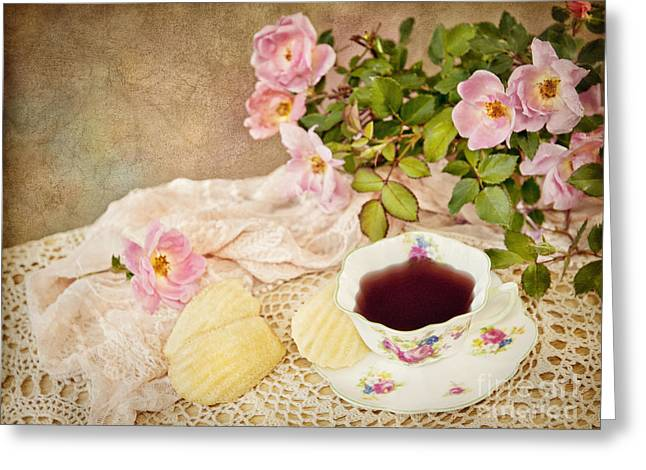 Saucer Peach Greeting Cards - Tea And Cookies Greeting Card by Cheryl Davis