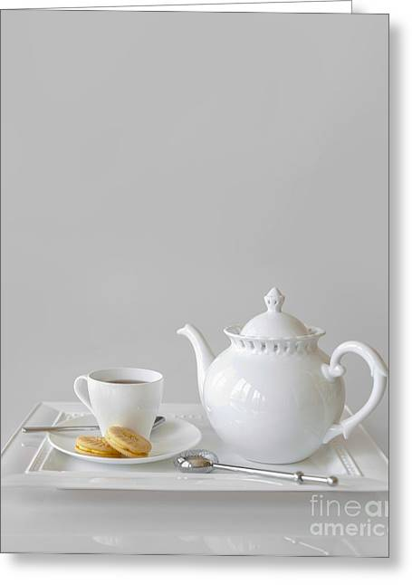Tea Party Greeting Cards - Tea and Cookies Greeting Card by Diane Diederich
