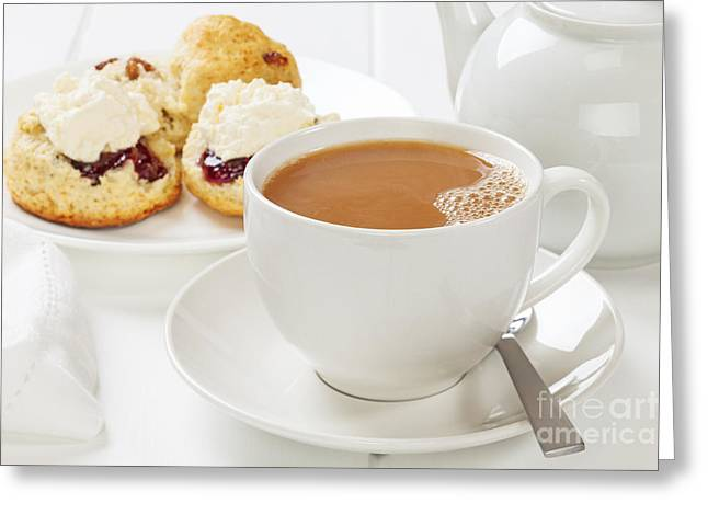 Devon Greeting Cards - Tea and Scones Greeting Card by Colin and Linda McKie