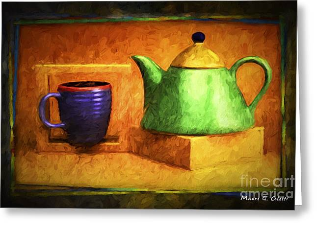 Abstract Digital Pyrography Greeting Cards - Tea Pot Greeting Card by Mauro Celotti