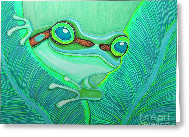 Amphibians Drawings Greeting Cards - Teal frog Greeting Card by Nick Gustafson