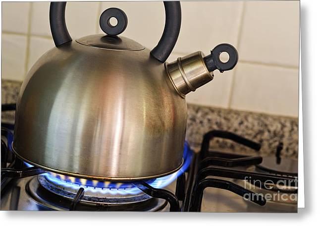 Teapot On Gas Stove Burner Greeting Card by Sami Sarkis