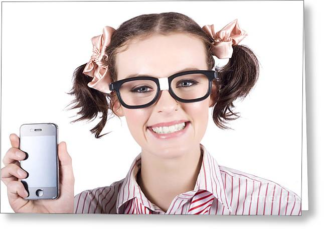 Technology Savy Business Woman With Mobile Phone Greeting Card by Jorgo Photography - Wall Art Gallery