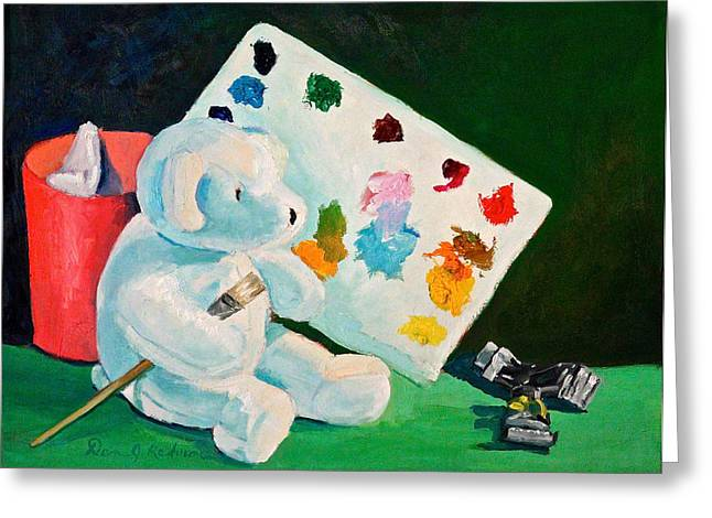Color Green Sculptures Greeting Cards - Teddy Behr the Painter #3 Greeting Card by Dan Redmon