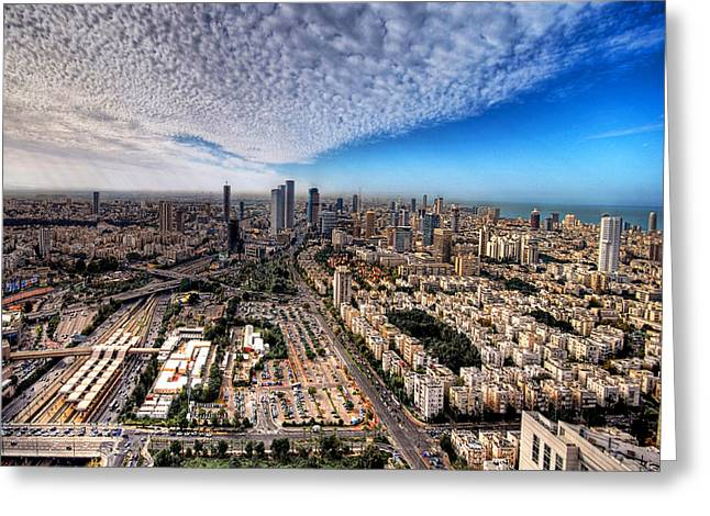 Lookout Greeting Cards - Tel Aviv Skyline Greeting Card by Ron Shoshani