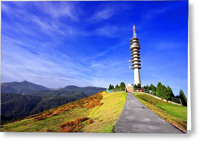 Radar Waves Greeting Cards - Telecommunications Tower Greeting Card by Mikel Martinez de Osaba