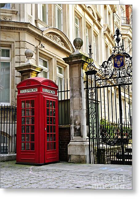 Cobblestone Greeting Cards - Telephone box in London Greeting Card by Elena Elisseeva