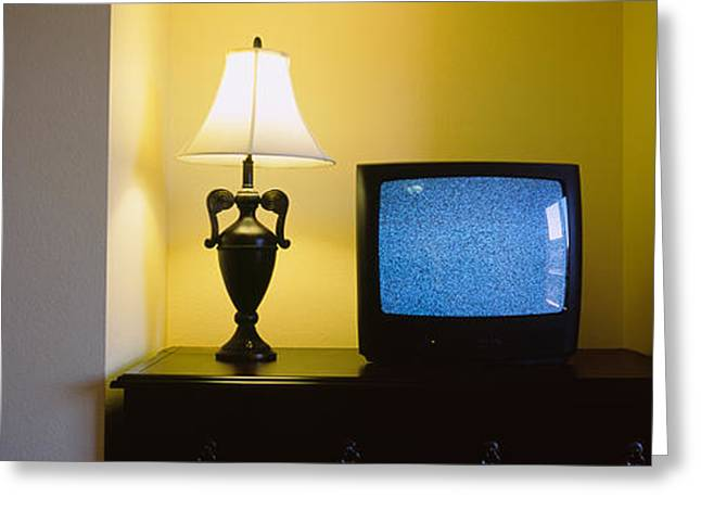 Screen Doors Greeting Cards - Television And Lamp In A Hotel Room Greeting Card by Panoramic Images