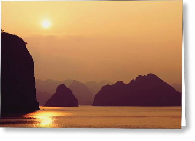 Ocean. Reflection Greeting Cards - Temple At Sunset Greeting Card by Skip Nall
