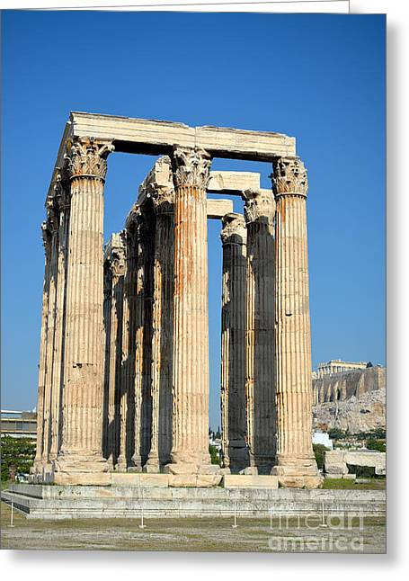 Framed Prints Greeting Cards - Temple of Olympian Zeus and Acropolis in Athens Greeting Card by George Atsametakis