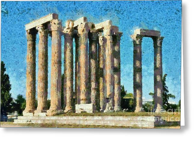 Olympian Paintings Greeting Cards - Temple of Olympian Zeus  Greeting Card by George Atsametakis