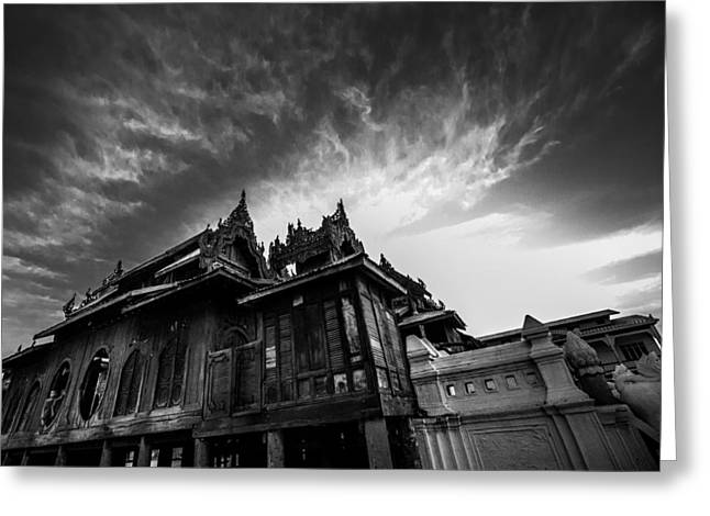 Myanmar Greeting Cards - Temple Sunset - Myanmar Greeting Card by Odin0110