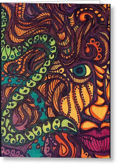Scroll Drawings Greeting Cards - Temptation Greeting Card by Gerri Rowan