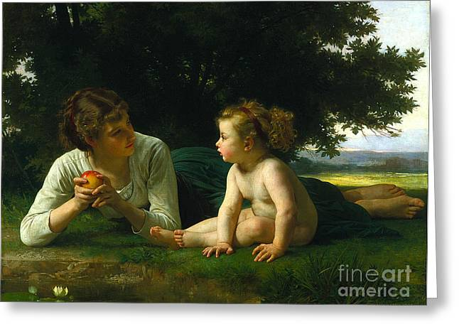 Bouguereau; William-adolphe (1825-1905) Greeting Cards - Temptation Greeting Card by Celestial Images