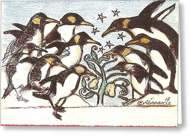 Penguins Pastels Greeting Cards - Ten Lords A Leaping Greeting Card by Kippax Williams