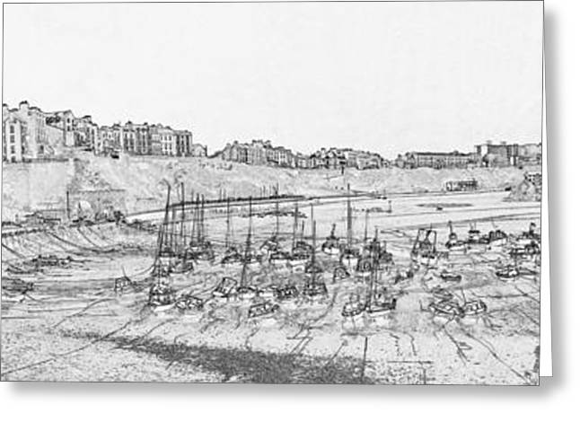 Sand Castles Greeting Cards - Tenby Harbor Panorama Greeting Card by Steve Purnell