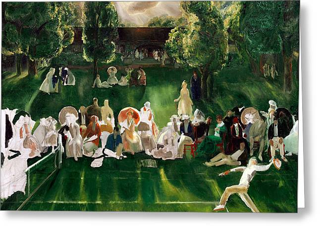 Bravery Greeting Cards - Tennis at Newport Greeting Card by George Wesley Bellows
