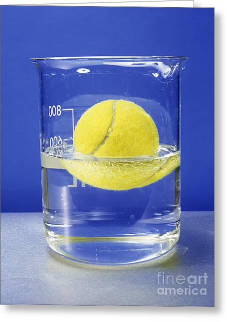 Recently Sold -  - Experiment Greeting Cards - Tennis Ball Floating In Water Greeting Card by Andrew Lambert Photography