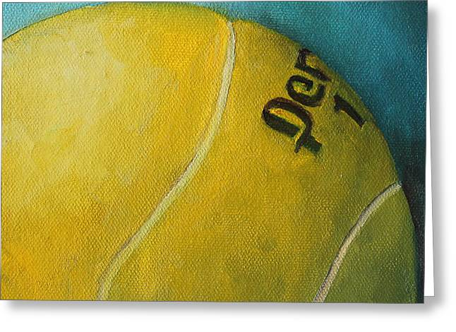 Racquet Paintings Greeting Cards - Tennis Ball Greeting Card by Kristine Kainer