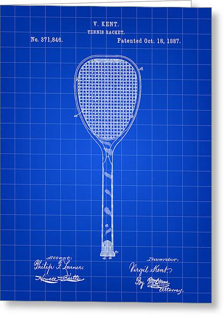 Tennis Match Greeting Cards - Tennis Racket Patent 1887 - Blue Greeting Card by Stephen Younts