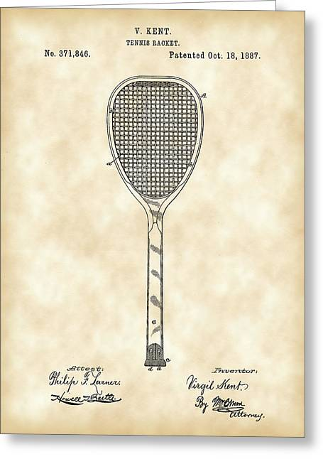Tennis Match Greeting Cards - Tennis Racket Patent 1887 - Vintage Greeting Card by Stephen Younts