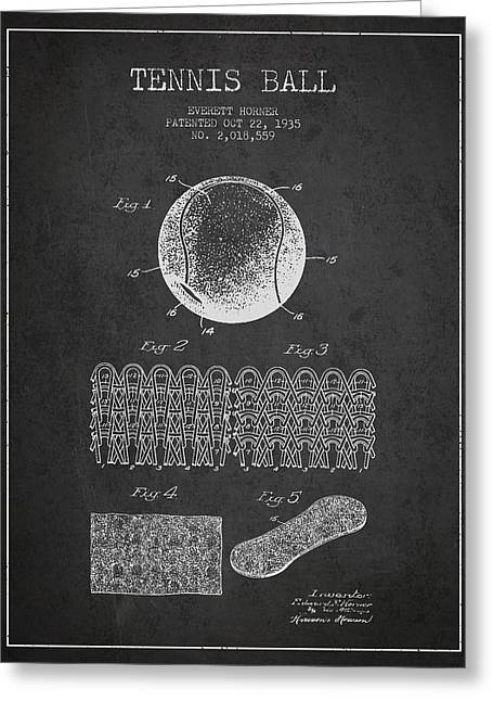 Tennis Digital Art Greeting Cards - Tennnis Ball Patent Drawing from 1935 Greeting Card by Aged Pixel