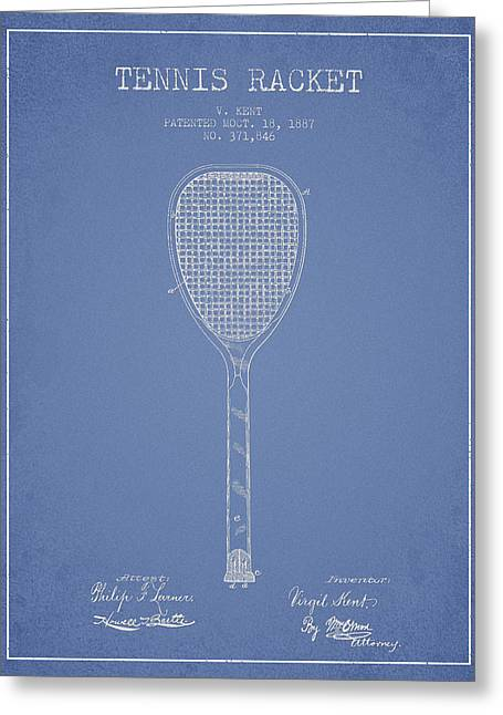 Tennis Racket Greeting Cards - Tennis Racket Patent Drawing from 1887 Greeting Card by Aged Pixel