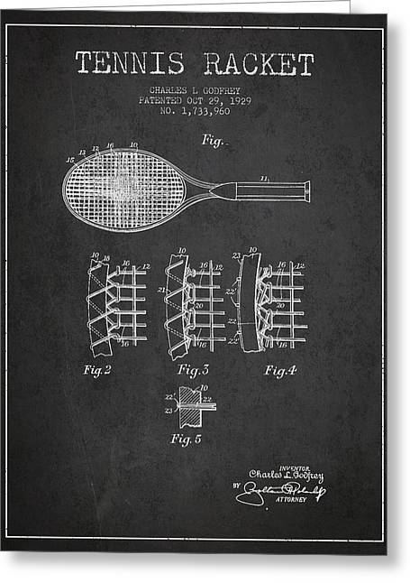 Game Digital Greeting Cards - Tennnis Racket Patent Drawing from 1929 Greeting Card by Aged Pixel