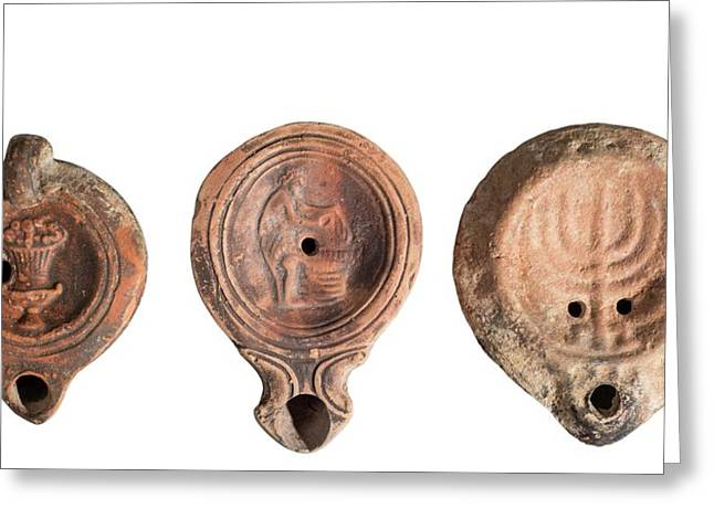 Terra-cotta Oil Lamps Greeting Card by Photostock-israel