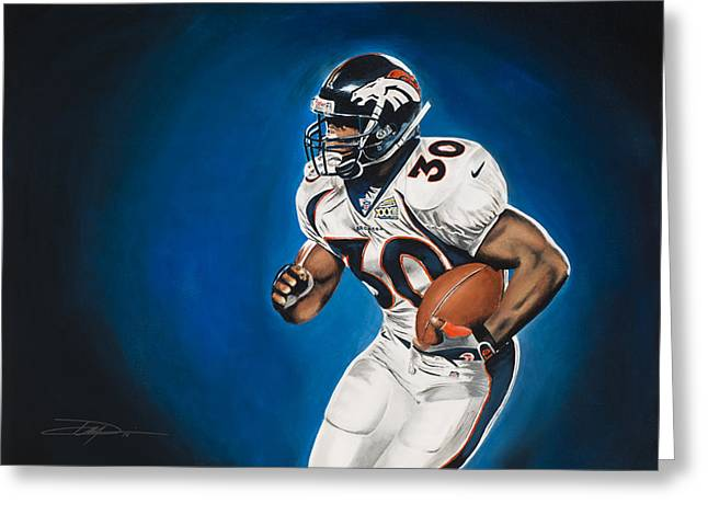 Don Medina Greeting Cards - Terrell Davis  Greeting Card by Don Medina