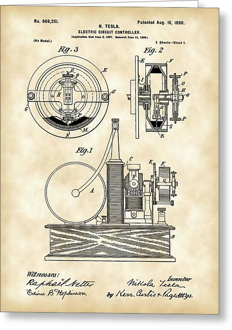 Capacitor Greeting Cards - Tesla Electric Circuit Controller Patent 1897 - Vintage Greeting Card by Stephen Younts