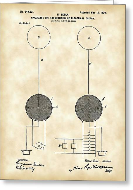 Capacitor Greeting Cards - Tesla Electric Transmission Patent 1900 - Vintage Greeting Card by Stephen Younts