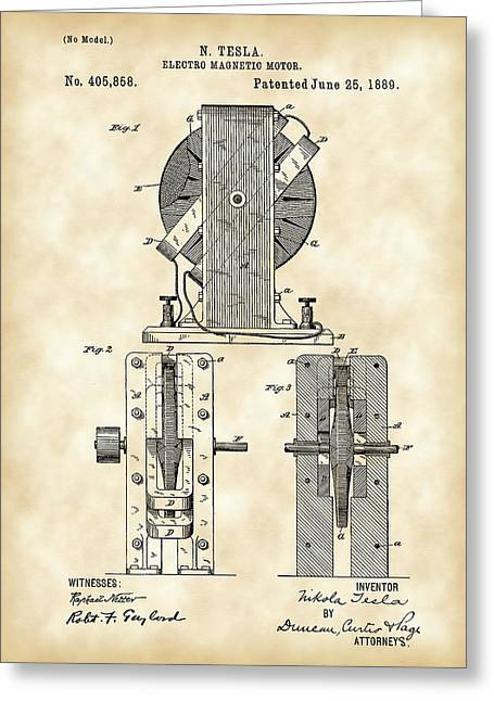 Conducting Greeting Cards - Tesla Electro Magnetic Motor Patent 1889 - Vintage Greeting Card by Stephen Younts