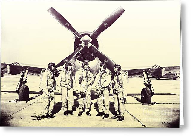 Test Pilots With P-47 Thunderbolt Fighter Greeting Card by R Muirhead Art