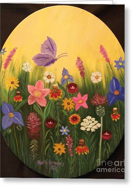 Stretched Cotton Canvas Greeting Cards - Texas Flowers Greeting Card by Ruth  Housley