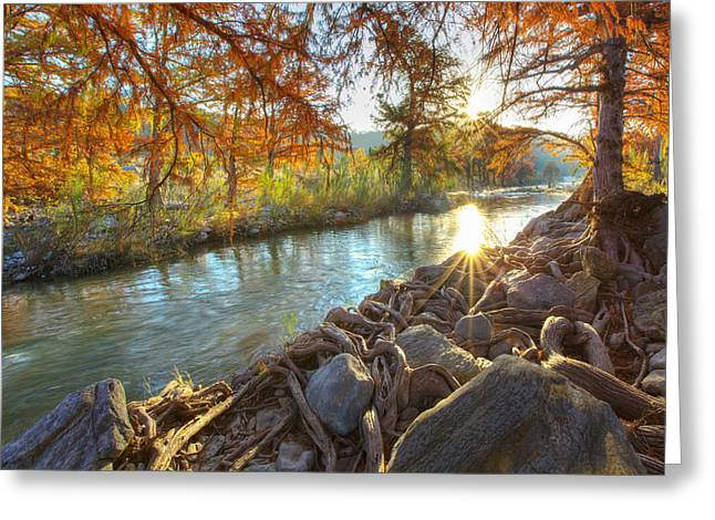 Fall Photos Greeting Cards - Texas Hill Country Images - Pedernales Falls State Park Sunrise  Greeting Card by Rob Greebon
