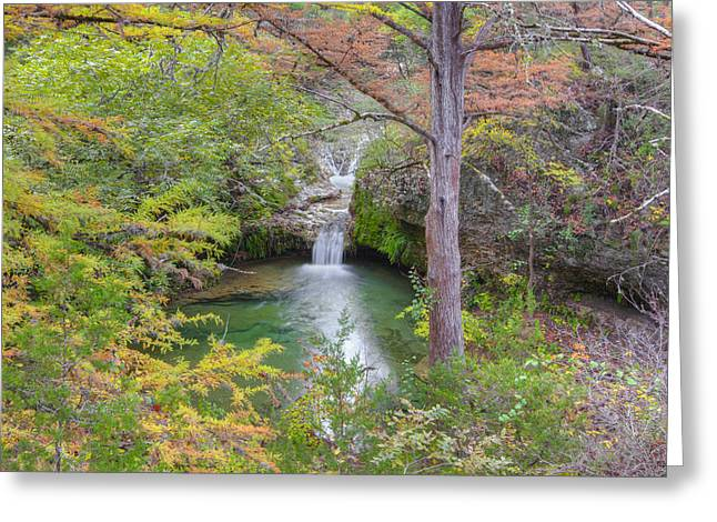 Parks In Texas Greeting Cards - Texas Hill Country Images - Twin Falls in Autumn at Pedernales F Greeting Card by Rob Greebon